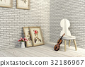 Violin and chair in white room interior 32186967