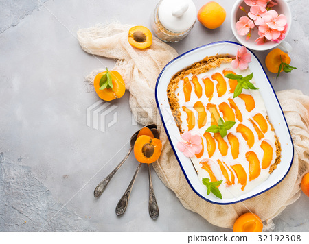 Home made apricot not baked cheese cake 32192308