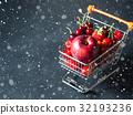 Fresh fruit in supermarket cart on black 32193236