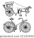 carriage, horse, vector 32193400