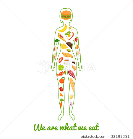 We are what we eat. Silhouette of girl with meal.  32195351