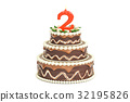 Chocolate Birthday cake with candle number 2 32195826