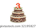 Chocolate Birthday cake with candle number 3 32195827