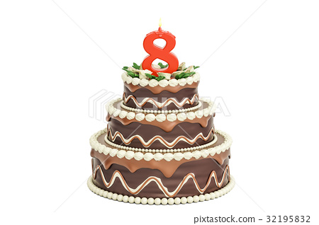 Chocolate Birthday Cake With Candle Number 8