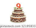 Chocolate Birthday cake with candle number 9 32195833