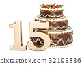 Chocolate Birthday cake with golden number 15 32195836