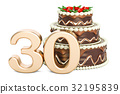 Chocolate Birthday cake with golden number 30 32195839