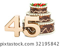 Chocolate Birthday cake with golden number 45 32195842
