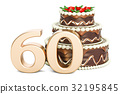 Chocolate Birthday cake with golden number 60 32195845