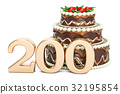 Chocolate cake with golden number 200 32195854