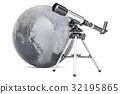 Telescope with Pluto, 3D rendering 32195865