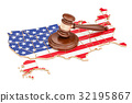 Wooden Gavel on map of USA, 3D rendering 32195867