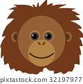 矢量 猩猩 臉部 32197977