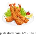 炸虾 油炸的 对虾 32198143
