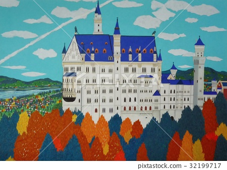 Neuschwanstein Castle of autumnal leaves 32199717