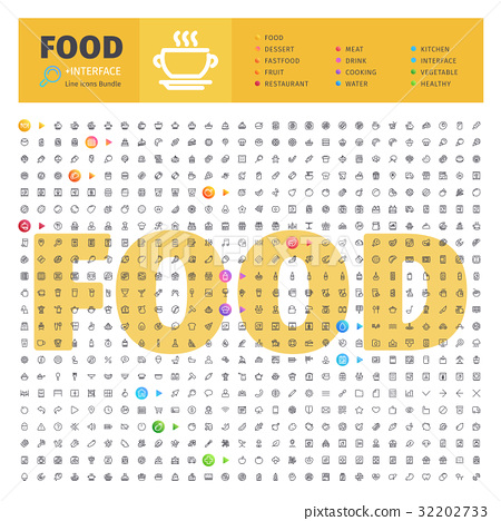 Food Thematic Collection of Line Icons 32202733