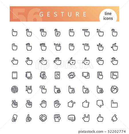 Gesture Line Icons Set 32202774