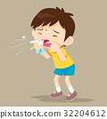 Child blow the nose 32204612