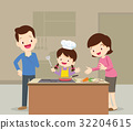 Family and daughter cooking 32204615