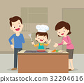Family and son cooking 32204616
