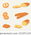 Flat bread set vector with isolated background 32205129