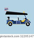 Flat Tuk tuk in Thailand vector with Thai flag 32205147