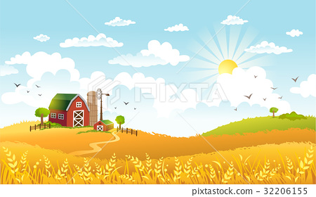 Vector illustration of beautiful landscape with 32206155