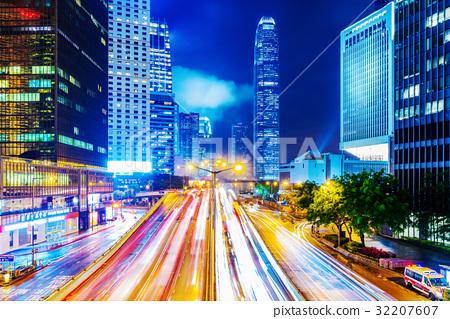 Hong Kong financial district at night 32207607