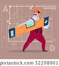 Cartoon Builder Holding Carpenter Level Wearing 32208901
