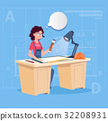 Cartoon Woman Builder Sitting At Desk Working On 32208931