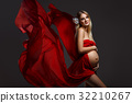 Pregnant girl in red dress 32210267