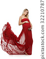 Pregnant girl in red dress 32210787