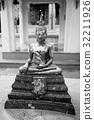 Buddha statue, Black and white 32211926