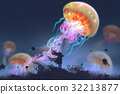 girl looking at giant jellyfish floating in sky 32213877