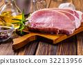 Raw pork slices on a chopping board 32213956