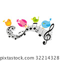 Musical notes with birds 32214328