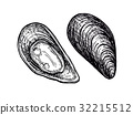 ink, mussel, oyster 32215512