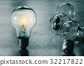 light bulb isolate on wood background 32217822