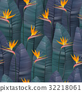 Vector seamless pattern with tropical strelitzia 32218061