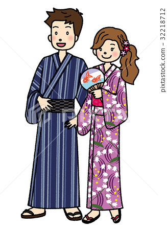 yukata, man and woman, couple 32218712