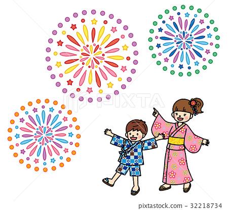 Yukata children's fireworks festival 32218734