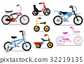 Different types kids bicycle isolated vector set 32219135