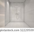 White shower room , 3d rendering 32220509