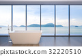 Luxury bathroom sea view , 3d rendering 32220510