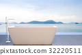 Bathtub with sea view , 3d rendering 32220511
