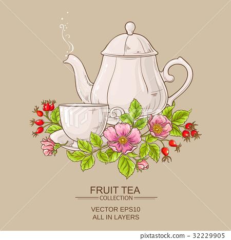cup of dog rose tea and teapot 32229905