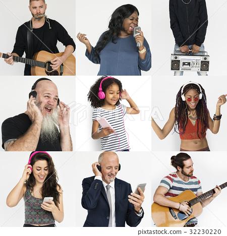 Set of Diversity People Listening Music Studio Collage 32230220