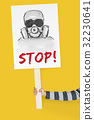 Stop Anti Against Abandon Gas Mask Word Graphic 32230641