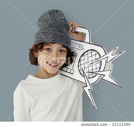Little Boy Holding Jukebox Smiling Papercraft 32231090