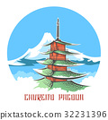 Chureito pagoda landscape japan emblem 32231396